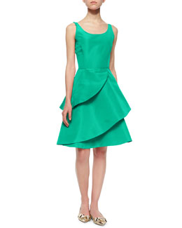 Oscar de la Renta Tiered-Ruffle Fit-And-Flare Cocktail Dress