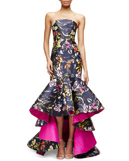 Strapless Printed High-Low Mermaid Gown