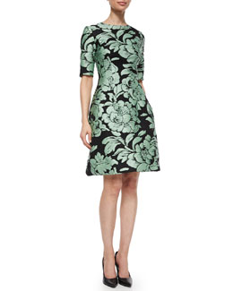Metallic Floral Jacquard Dress