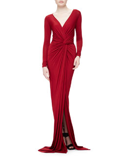 Donna Karan Twist-Knot Superfine Jersey Gown