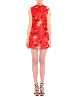 Valentino Heart-Print Tie-Neck Dress