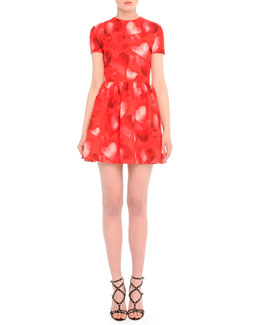 Valentino Short-Sleeve Heart-Print Fit-And-Flare Dress