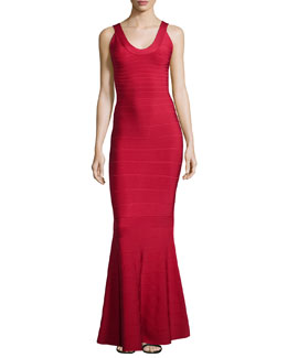 Herve Leger Scoop-Neck Bandage Knit Gown, Red