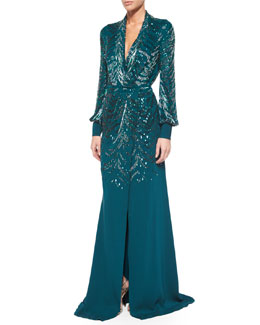Roberto Cavalli Sequined Wrap-Front Slit Gown