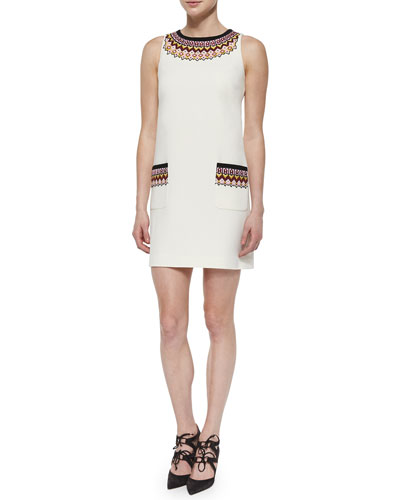 Fair Isle Sleeveless Crepe Shift Dress
