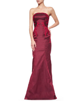 Zac Posen Embroidered Silk Strapless Gown