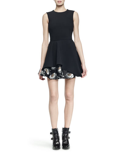 Floral Brocade Peplum-Skirt Fit-And-Flare Dress