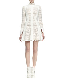 Alexander McQueen Paneled Lace Flared Dress
