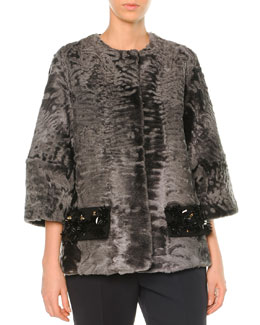 Astrakhan Fur Beaded-Pocket Coat