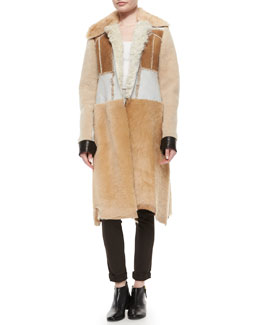 Calvin Klein Collection Paneled Shearling Fur Long Coat