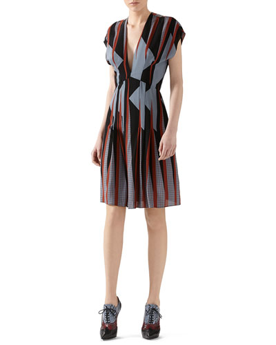Triangle Print Silk Dress