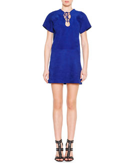 Emilio Pucci Scalloped Laced Suede Shift Dress