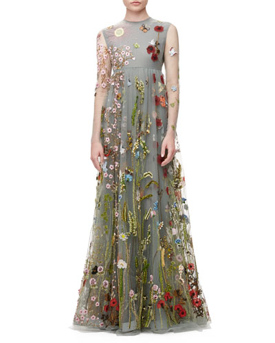 Floral-Embroidered Tulle Empire-Waist Gown, Gray