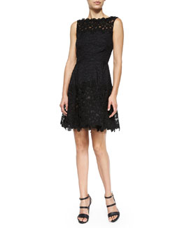 Sleeveless Floral Lace Dress, Black