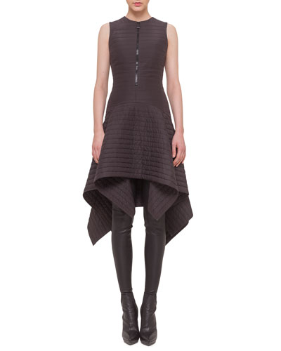 Matelasse Half-Zip Asymmetric Dress