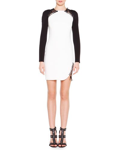 Crisscross Laced Colorblock Dress