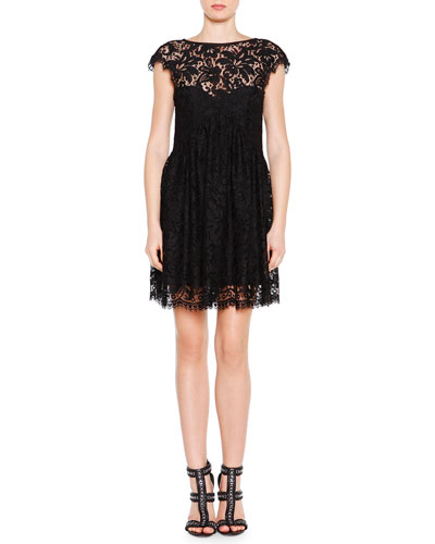 V-Back Floral Lace Pleated Dress