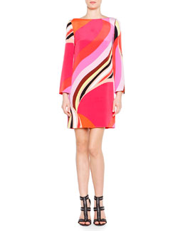 Emilio Pucci Twirl Striped Cady Shift Dress