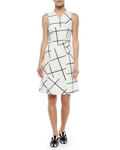 Jigsaw Windowpane-Print Fit-And-Flare Dress