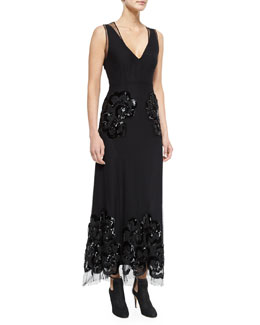 Marc Jacobs Sleeveless Embroidered Silk Gown, Black
