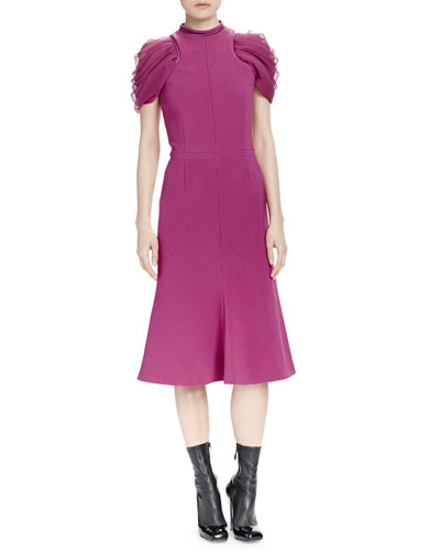 Gathered Chiffon-Sleeve Crepe Flared Dress