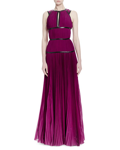 Pleated Leather-Trimmed Tiered Gown