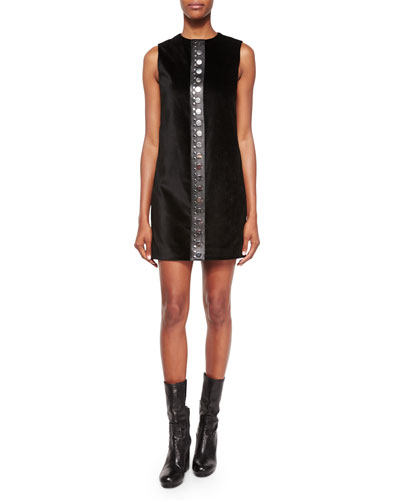 Studded Sateen Shift Dress