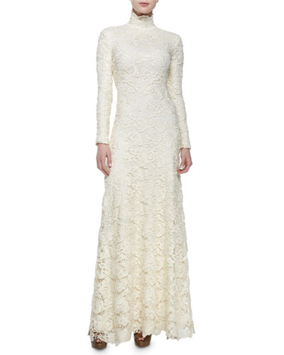 Long-Sleeve Floral Lace Turtleneck Gown