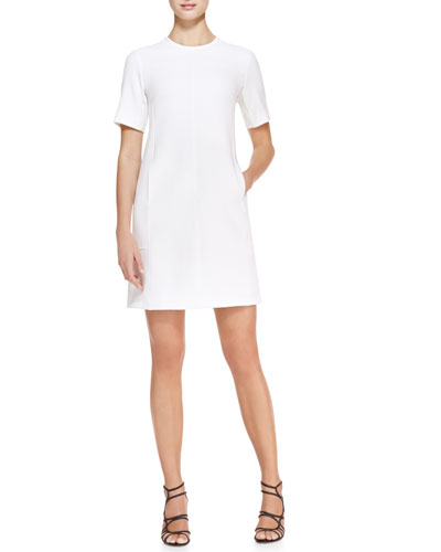 Seamed Crepe Tunic Dress