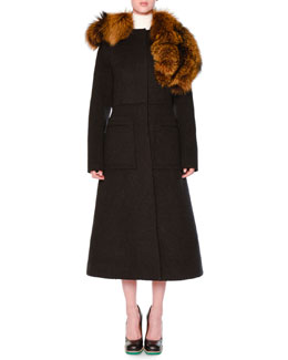 Asymmetric Fur-Collar Fit-And-Flare Coat