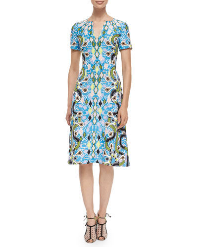 Park Abstract-Print Crepe Dress