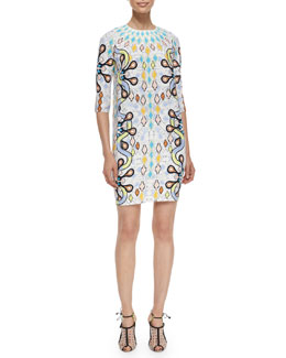 Cube Abstract-Print Crepe Dress