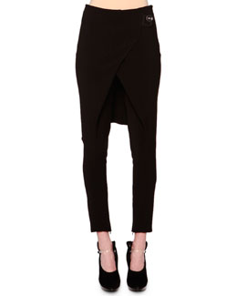 Giorgio Armani Overskirt Zip-Cuff Ankle Pants