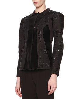 Giorgio Armani Beaded Velvet-Paneled Jacket