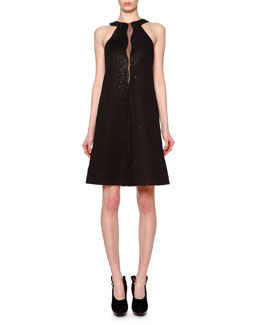 Giorgio Armani Swarovski® Crystal Sheer-Inset A-Line Dress