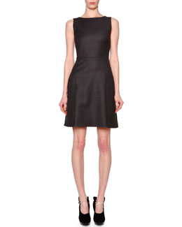 Giorgio Armani Sleeveless Microchevron Seamed Dress