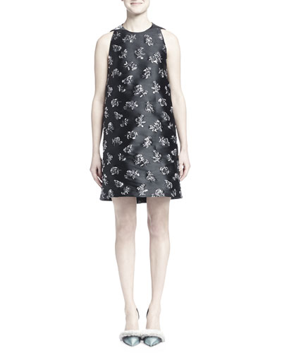 Floral-Embroidered Shantung Shift Dress