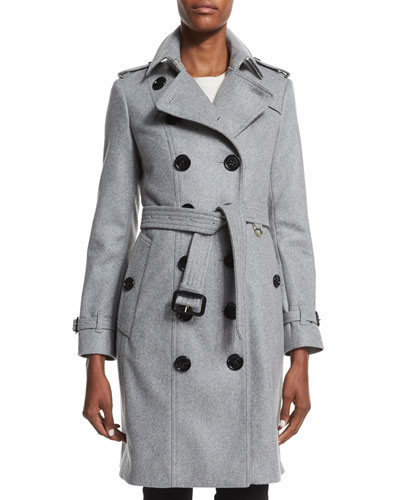 Cashmere Mid-Length Trenchcoat, Pale Gray