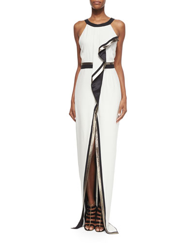 Metallic-Trimmed Scarf-Draped Halter Gown
