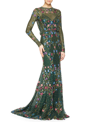 Floral-Embroidered Grid-Beaded Mermaid Gown