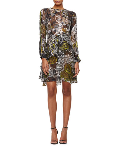 Ruffled Henna-Print Devore Dress