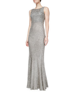 Sleeveless Embellished Gown, Cement