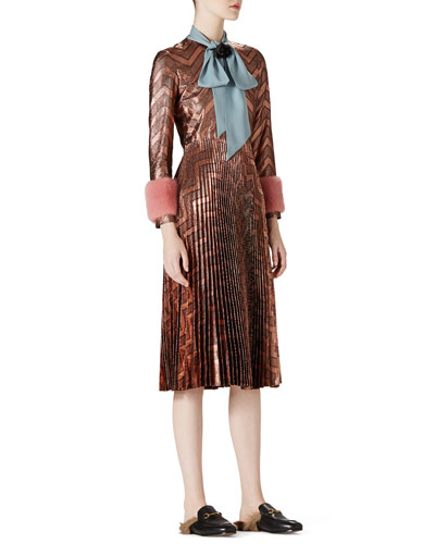Zigzag Metallic Plisse Dress