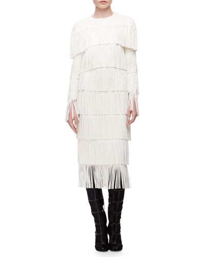 Tiered Fringe Cutout Shift Dress