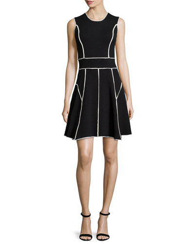 Contrast-Seam Fit-&-Flare Dress, Black/Ivory