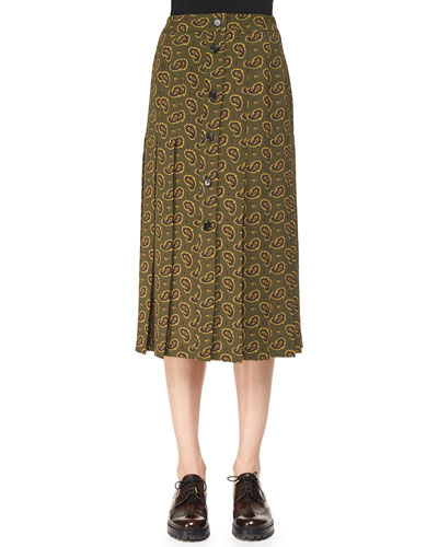 Paisley-Print Button Skirt