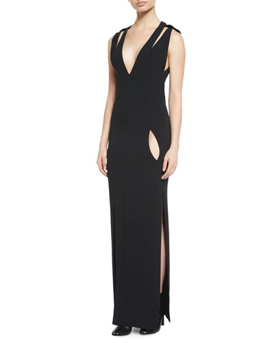 Sleeveless Double-Strap Cady Gown, Black