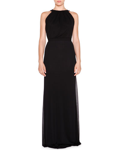 Sleeveless Jewel-Neck Gown, Black