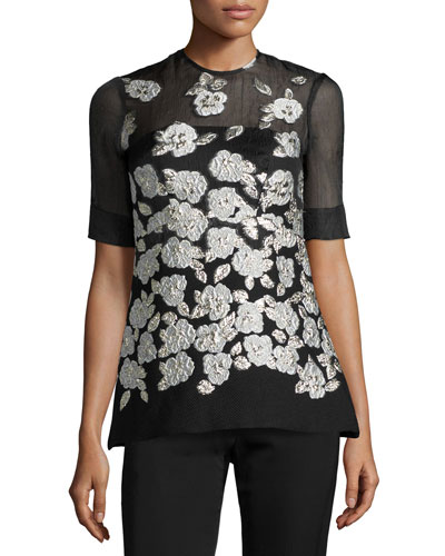 Metallic Floral-Embroidered Blouse, Black