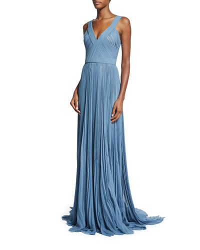 Pleated V-Neck Silk Chiffon Gown, Parisian Blue